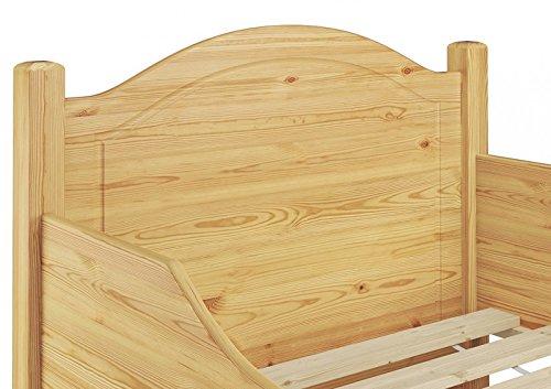 60.40-09 Seniorenbett Kiefer mass. 90×200 cm kompl. mit Rollrost - 6