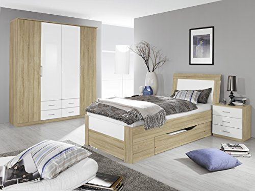Rauch Bett mit 1 Schubkasten Eiche Sonoma/Hochglanz weiß 100 x 200 cm - 2