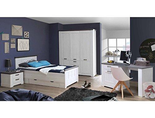 expendio Bett Gaston 100x200 cm 1x Schubkasten Schneeeiche weiss grau Jugendbett Komfortbett Seniorenbett Singlebett Gästebett Schlafzimmer Landhausmöbel - 4