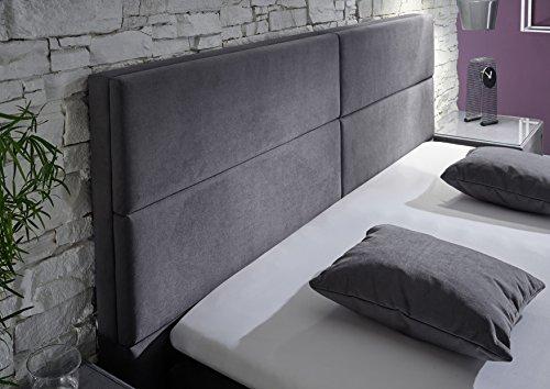 Stellwerk Furniture 1652 Premium Boxspringbett 180x200-cm Bettkasten Stauraum H2-H2 Stoff Grau 7-Zonen Taschenfederkern-Matratze Polsterbett Doppel-Bett - 2