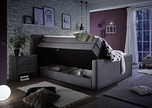 Stellwerk Furniture 1652 Premium Boxspringbett 180x200-cm Bettkasten Stauraum H2-H2 Stoff Grau 7-Zonen Taschenfederkern-Matratze Polsterbett Doppel-Bett - 3