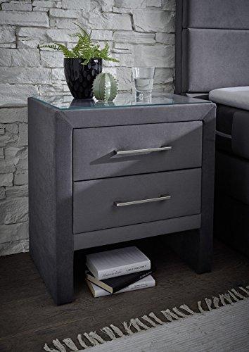 Stellwerk Furniture 1652 Premium Boxspringbett 180x200-cm Bettkasten Stauraum H2-H2 Stoff Grau 7-Zonen Taschenfederkern-Matratze Polsterbett Doppel-Bett - 4