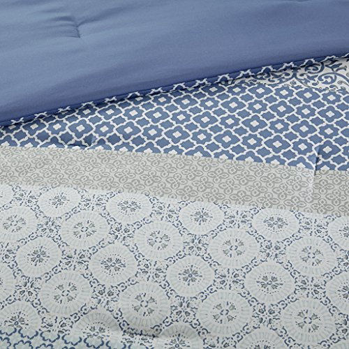 Bettwäsche 135x200cm 2-teilig Bettbezug Kissenbezug 80x80cm Blau Ornamente Weiche Mikrofaser Geometrisch Sybil Ideal für Schlafzimmer - 5