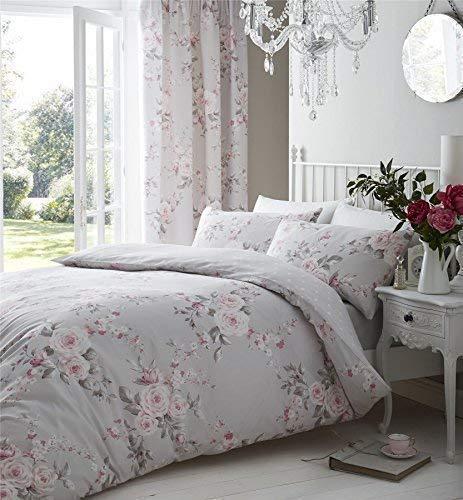 Grau Pink Rose Floral Bettwäsche Baumwolle