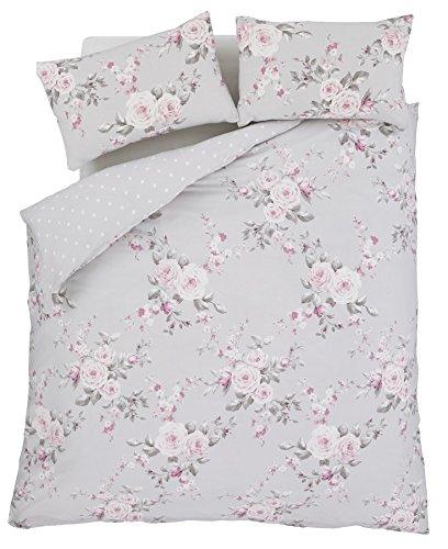 Grau Pink Rose Floral Bettwäsche Baumwolle - 2