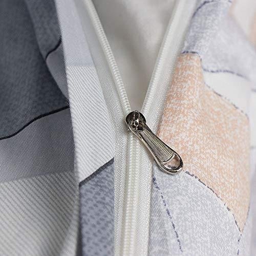 KEAYOO Bettwäsche Grau Weiß 135x200 Geometrische Wendebettwäsche 100% Bauwolle 2 Teilig Set mit Reißverschluss - 6