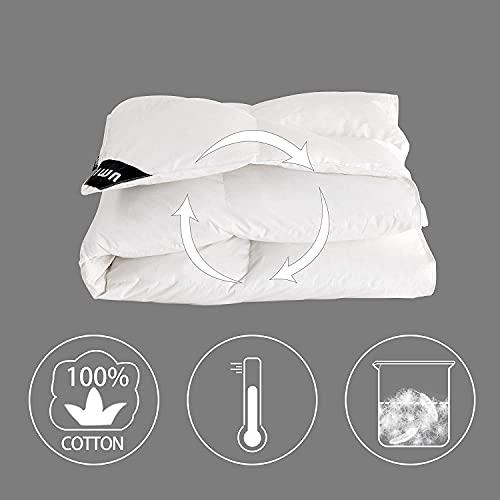 Umi. Essentials Luxus Warme Gänsefedern und Daunen Winterbettdecke Extra Warm, 100% Baumwolle Shell Steppdecke, Bettdecke 200x200cm - 2